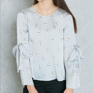 TopShop butterfly round neck bell tie long sleeve